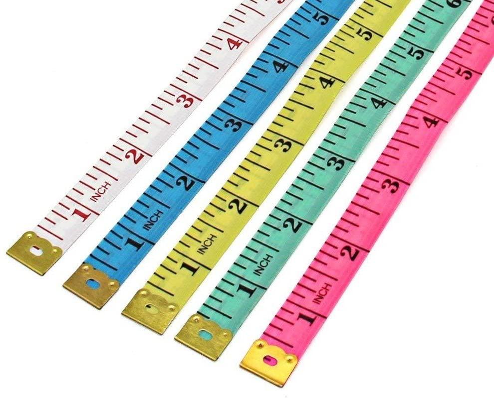 Onwon 5 Pcs Multicolor Soft Measure Tape Flexible Cloth Ruler Measuring Sewing Tailor Body Measurement 60Inch/150cm