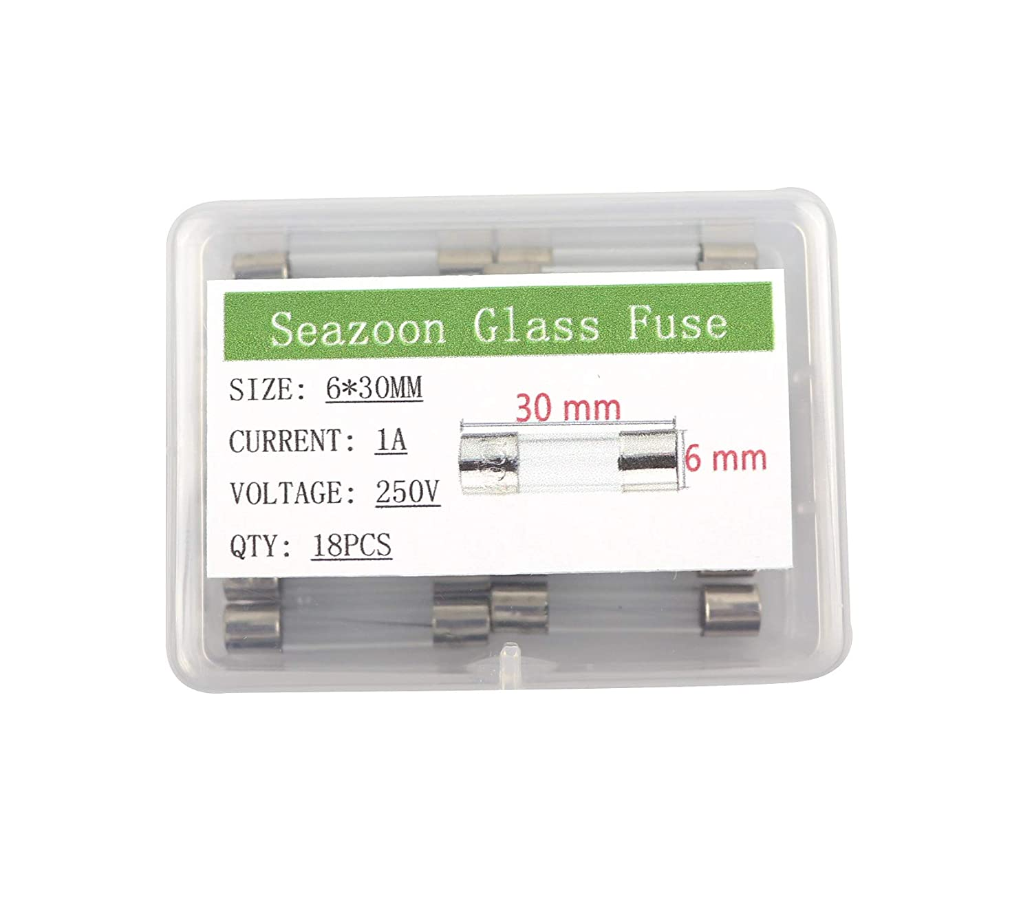 Seazoon 18Pcs 6X30mm 1A 1amp 250V Quick Blow Glass Tube Fuse Assorted Kits Fast-Blow Fuses