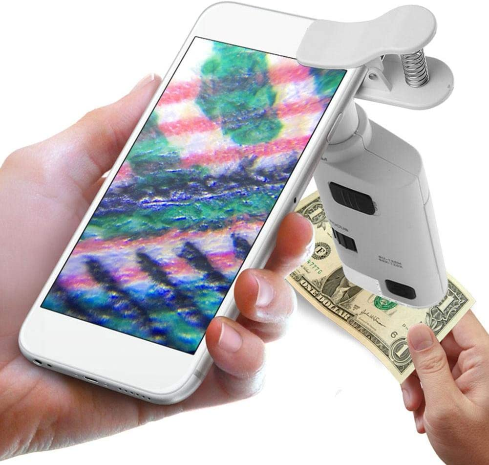 80-120X Clip-On LED Cell Phone Microscope Mini Smart Phone Lens Microscope Magnifier Universal Lens with LED/UV Lights