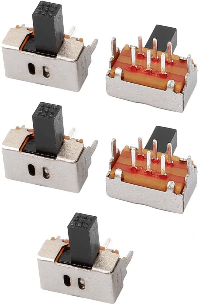 uxcell 5Pcs 2 Position 6P DPDT Panel Mount Micro Slide Switch Latching Power Switch