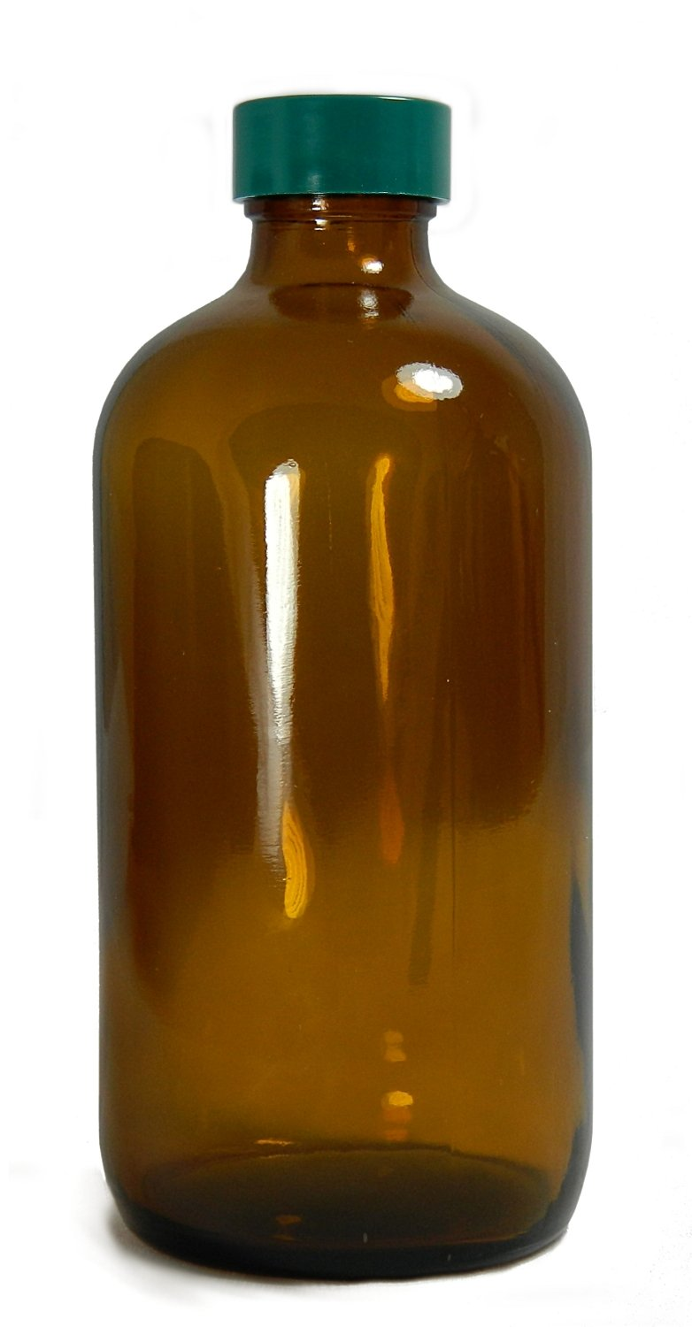Qorpak GLC-01925 Amber Glass Boston Round Bottle with 22-400 Green Thermoset F217 PTFE Lined Cap, 48mm OD x 112mm Height, 4oz Capacity (Case of 160)