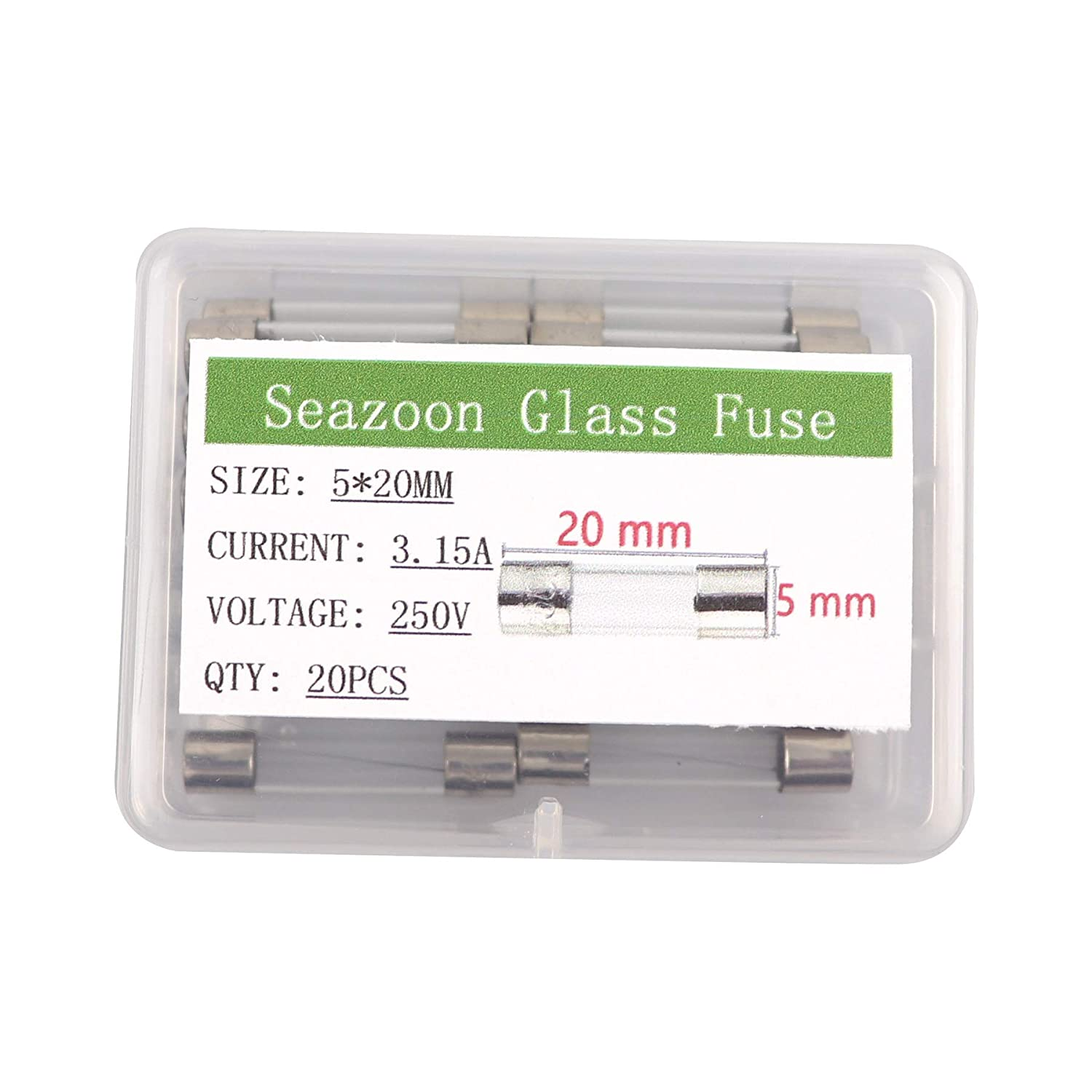 Seazoon 20Pcs 5x20mm 3.15A 3.15amp 250V Quick Blow Glass Tube Fuse Assorted Kits Fast-Blow Fuses