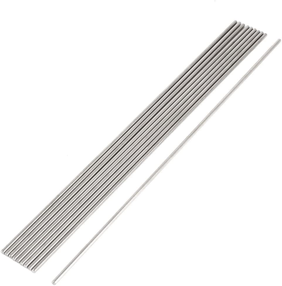 Fielect Stainless Steel Solid Round Rods Metal Lathe Bar Stock for DIY Craft 300x2mm 1Pcs