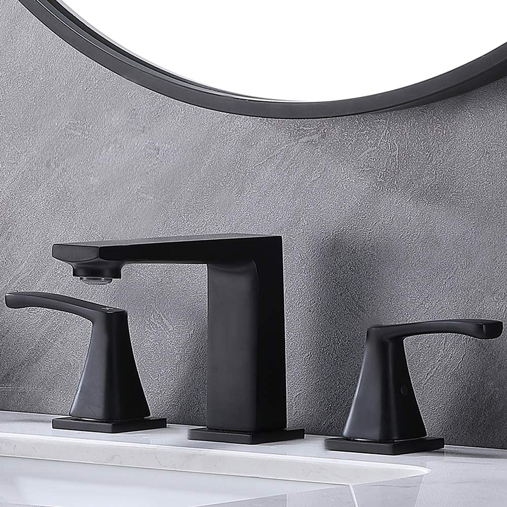 Modern 2 Handle 3 Hole Matte Black Bathroom Faucet, Widespread Vanity Lavatory Lead-Free Bathroom Sink Faucet with Faucet Supply Lines,DC17814P