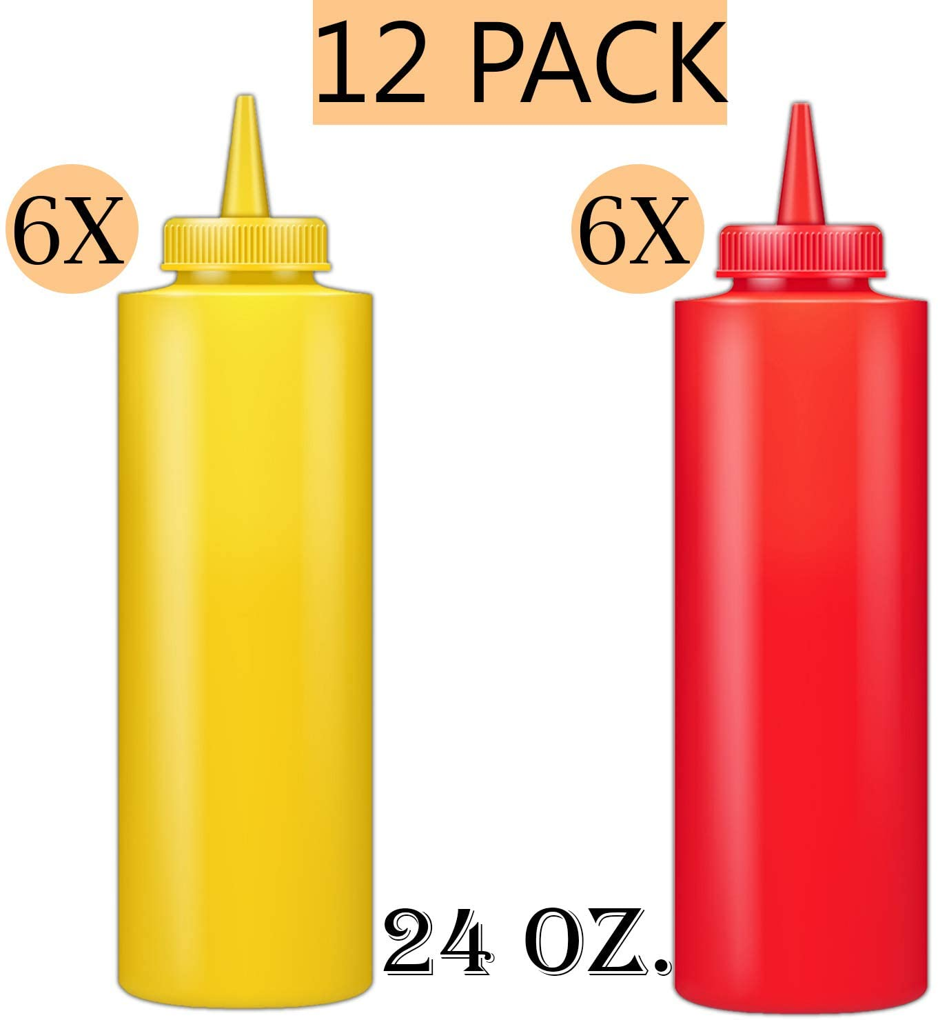 Squeeze Bottle Kit - Includes 24 oz. Squeeze Bottles for Sauces In Red and Yellow 6 of Each Color, Multi use - Sauce Bottles, Squirt Bottles, Condiment Bottle, 12 Pack.