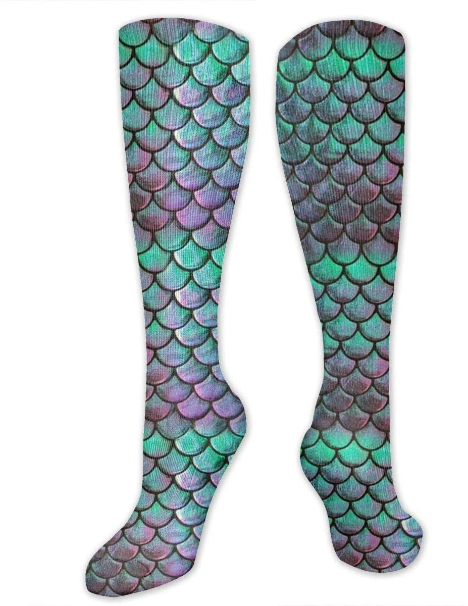Compression Socks for Women Men Nurses Runners - Best Medical Stocking for Travel, Maternity, Running, Athletic, Varicose Veins - Green Mermaid Scale Style