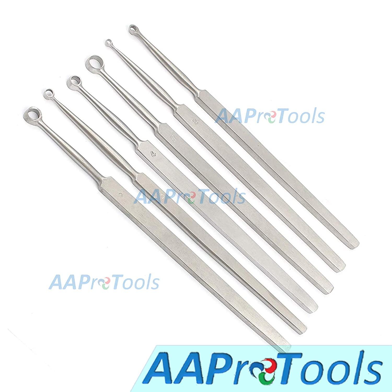 AAProTools Fox Dermal Curettes Dermatology 1mm-6mm Ent 6 Pcs Stainless Steel Instruments