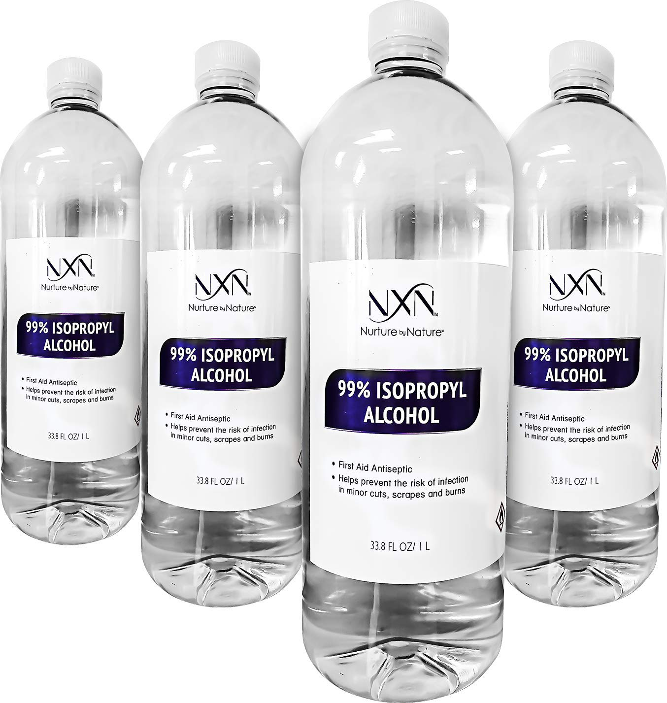 99.8% Pure Isopropyl Alcohol - Highest Purity & Quality - 1 Liter Bottles - Pack of 4 (135.2 FL Oz - 4,000mL Total)
