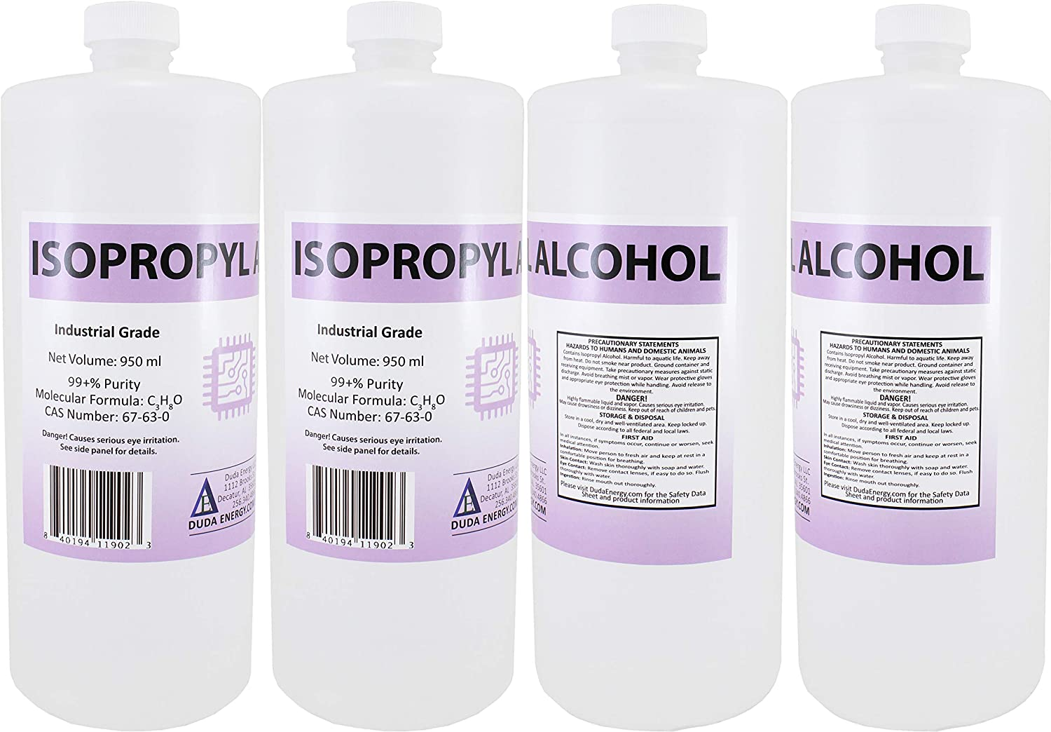 25 x 950ml Bottles of 99.8+% Pure Isopropyl Alcohol Industrial Grade IPA Concentrated Rubbing Alcohol
