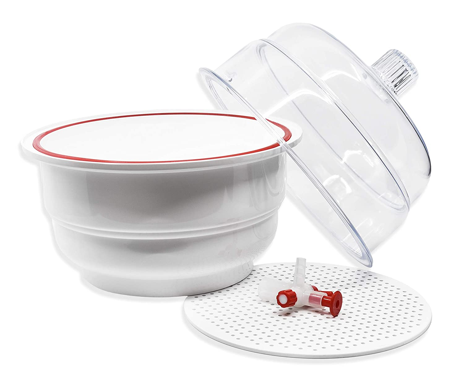 Desiccator Vacuum, 20cm - Silicone O-Ring - Polypropylene and Polycarbonate - PTFE Plug and Stopcock - Flat Dome - Autoclavable - 740mm Hg for 24 Hours - Eisco Labs