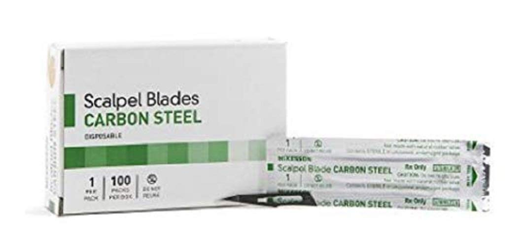 Case of 100 Disposable Carbon Steel Blade Size 11. Sterile Individually Wrapped Surgical Scalpel. Single Use Straight Tip Blade. Great for Surgical Application.