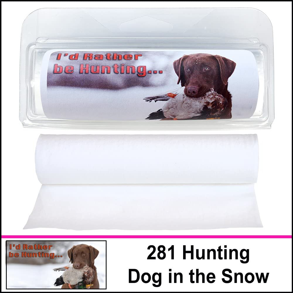 Gotta Tinkle! Premium Travel-Size Novelty Toilet Paper - Travel, Camping, Hunting, Fishing & Nature (3-Pack) (281 Hunting Dog Snow)