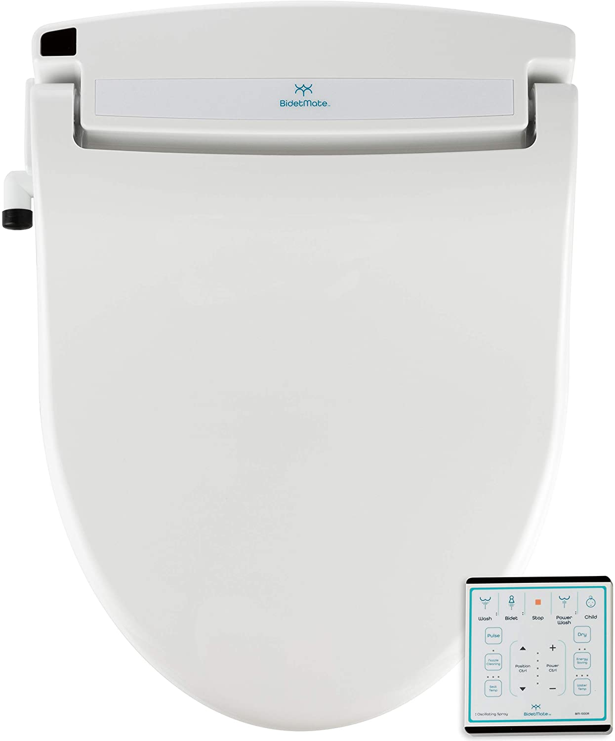BidetMate 1000R-E Series Electric Bidet Heated Smart Toilet Seat with Heated Water, Wireless Remote, and Heated Dryer - Adjustable and Self-Cleaning - Fits Elongated Toilets