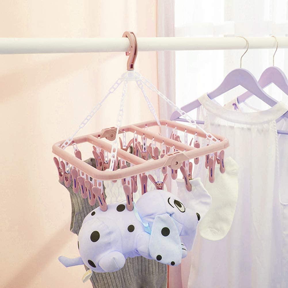 eboxer-1 Laundry Hanger, Socks Hanger, Environmentally Friendly Clip Hanger, Strong Safe for Bras for Socks(Pink)