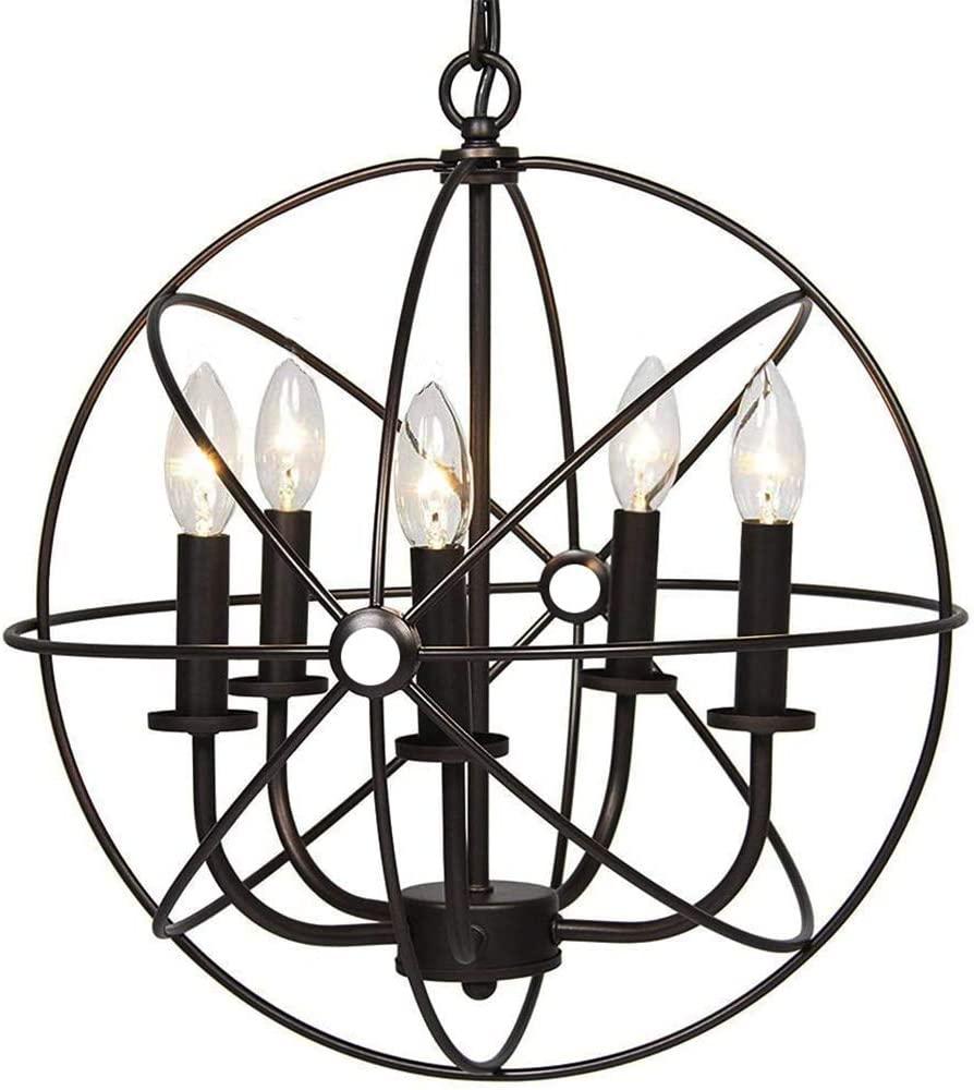 TFCFL 5-Light Globe Chandelier, Industrial Vintage Hanging Pendant Lamp Rustic Ceiling Light Fixture with Adjustable Chain for Living Room Bedroom (Black)