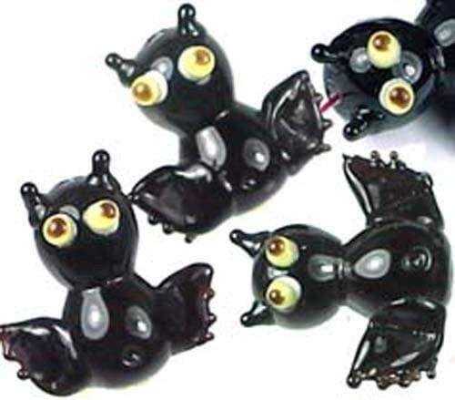 Lampwork Handmade Glass Black Bat Halloween Beads (6) - Craft DIY Jewelry Making Beads
