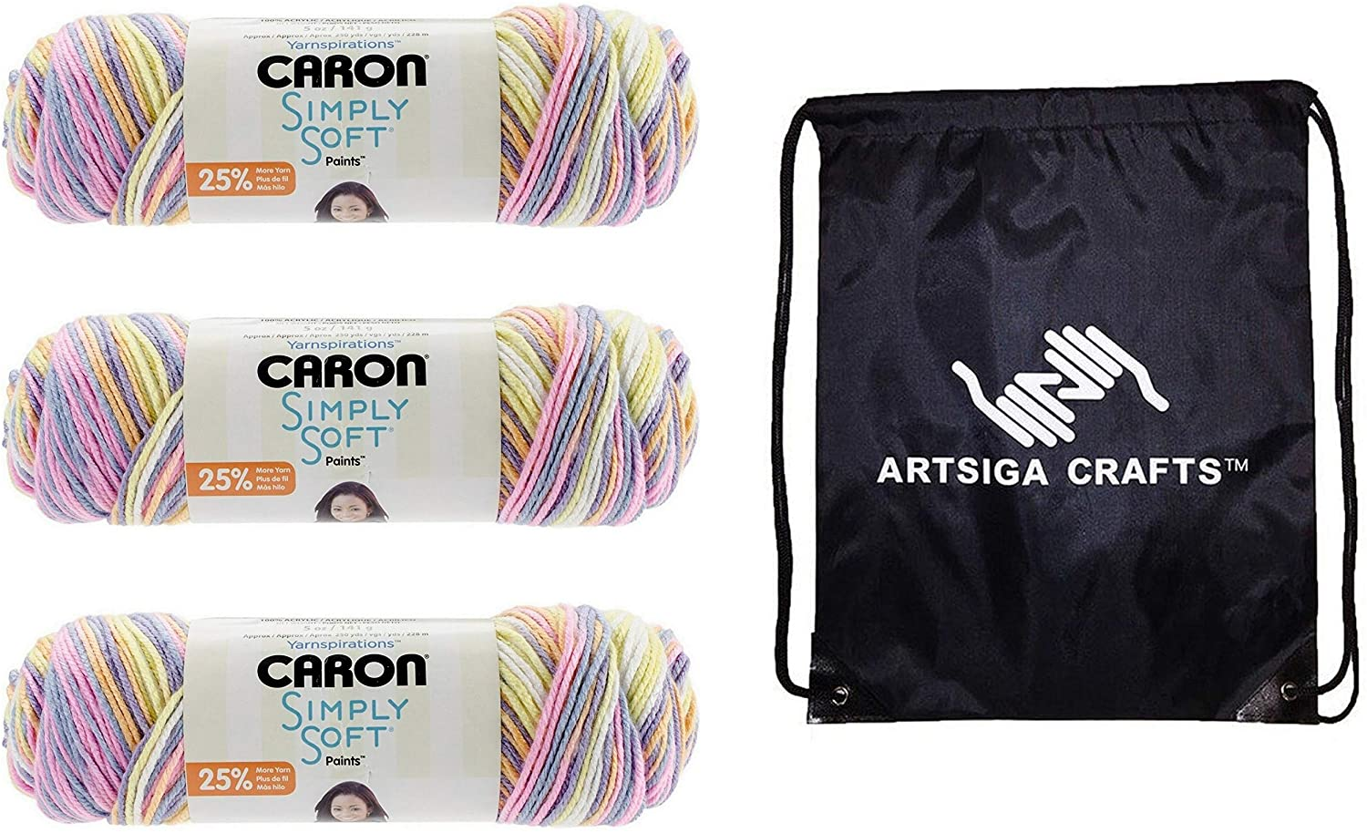 Caron Knitting Yarn Simply Soft Paints Baby Brights 3-Skein Factory Pack (Same Dyelot) 294021-21015 Bundle with 1 Artsiga Crafts Project Bag