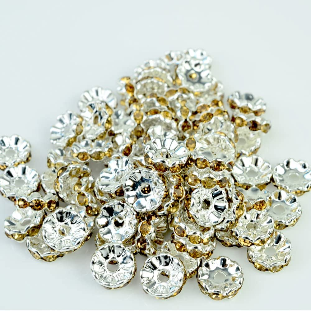 RUBYCA Top Quality 100pcs 8mm Wavy Rondelle Spacer Beads Silver Tone Light Colorado Czech Crystal