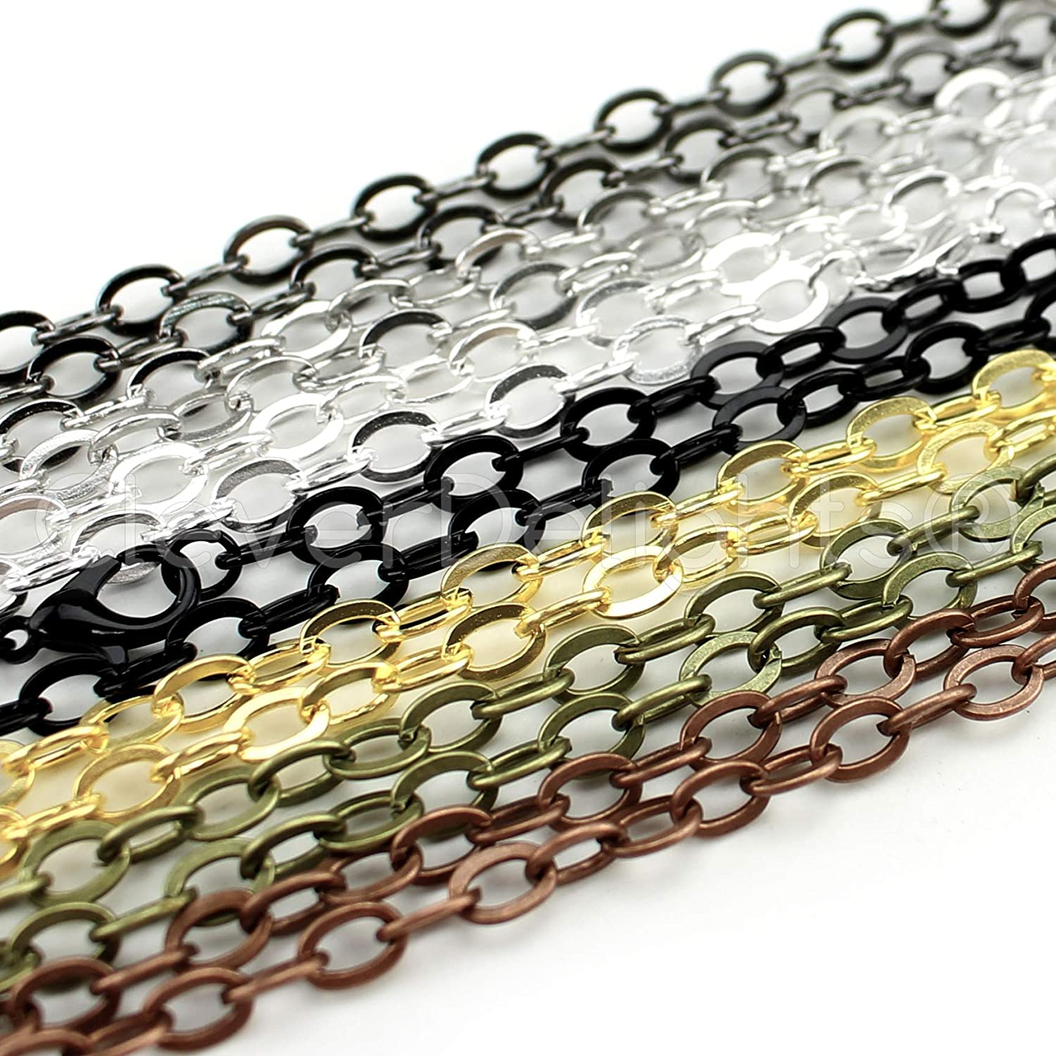 21 Pack - CleverDelights Flat Oval Cable Chain Necklaces - 24 Inch - Mix Pack - 5x7mm Flat Oval Links - Adjustable Length