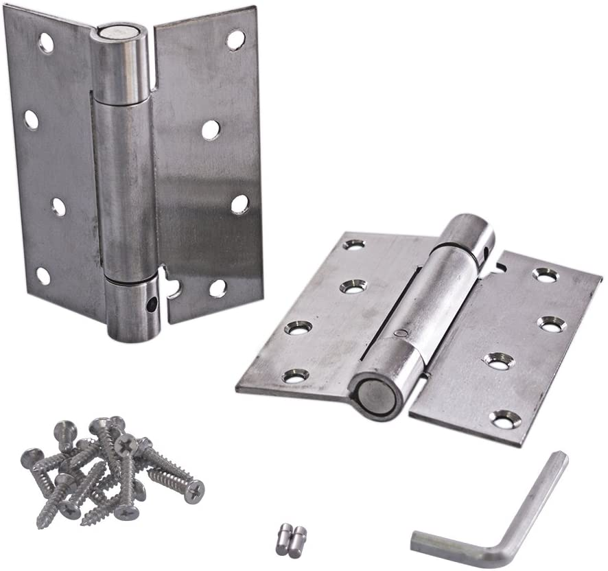 Ewead, 4 Inch Stainless Steel Automatic closing Single Action Silver Spring Door Hinges Adjustable tension Pack of 2