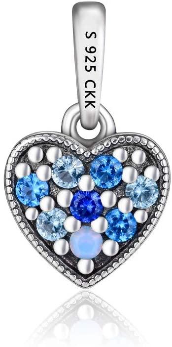 CKK Blue Sky & Waves 925 Sterling Silver Dangle Charm Fit Pandora Dangle Charms Bracelet for DIY Jewelry Making (Blue Heart)