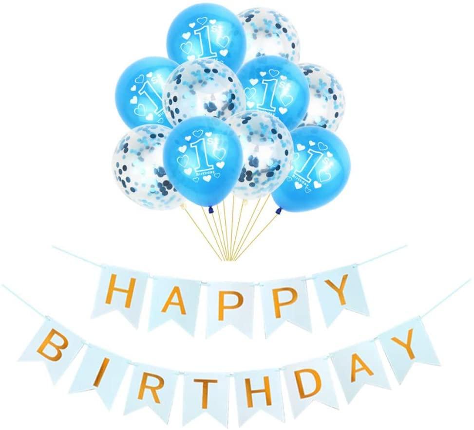 Hongkai 1st Birthday Boy Decoration Latex Balloons Happy Birthday Banner Blue Number 1 Latex balloons Set,Baby First Happy Birthday Party Supplies