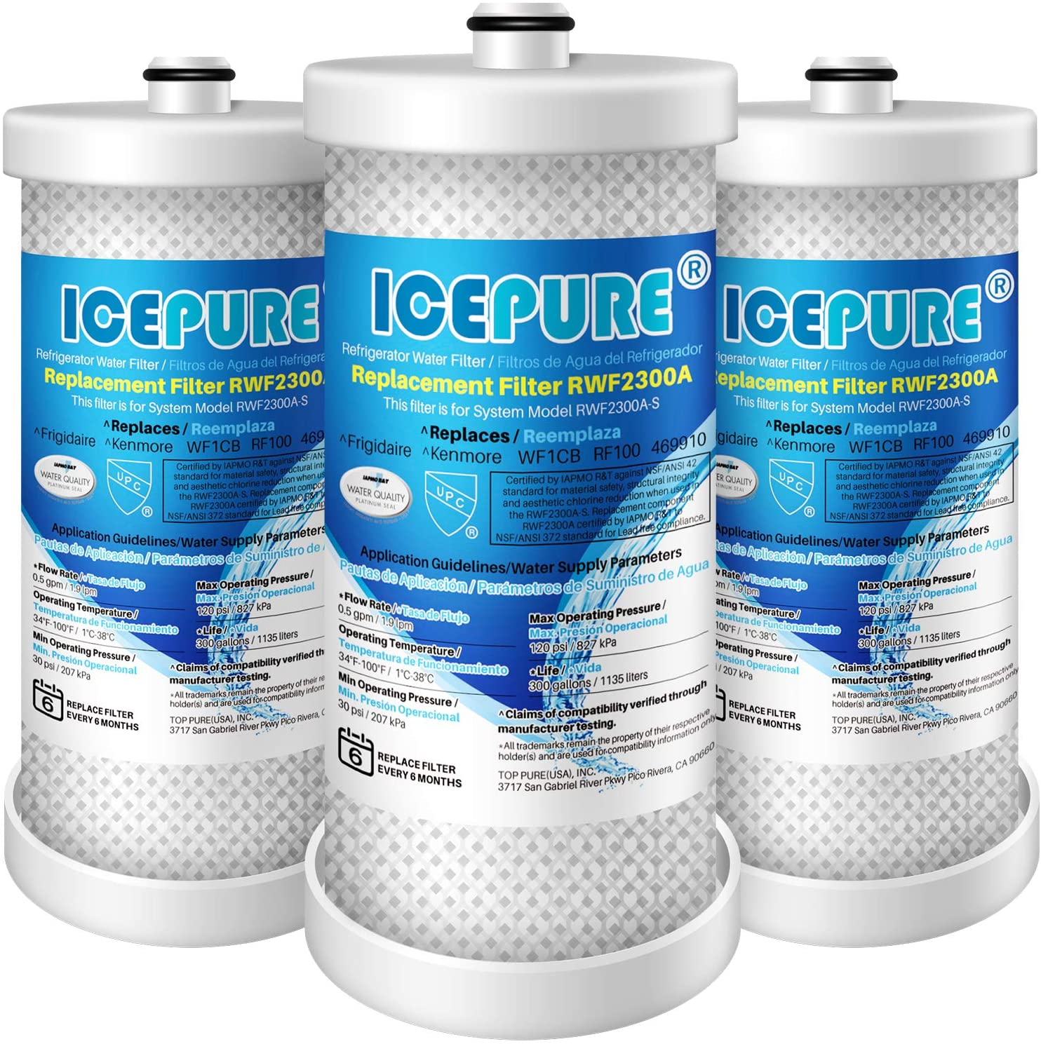 ICEPURE WF1CB Refrigerator water filter Replacement For Frigidaire PureSource WF1CB,WFCB, RG100, NGRG2000, WF284, Kenmore 9910, 469906, 469910,3PACK