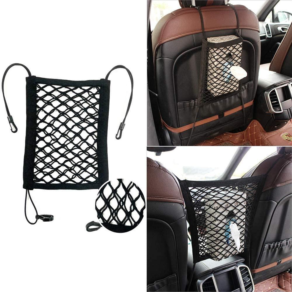 YA Car Dual-Layer Storage Net Bag Universal Car Motorcycle Backseat Mesh Organizer Hook Pouch Holder Storage Net Bag Car Backseat Pets Children Barrier