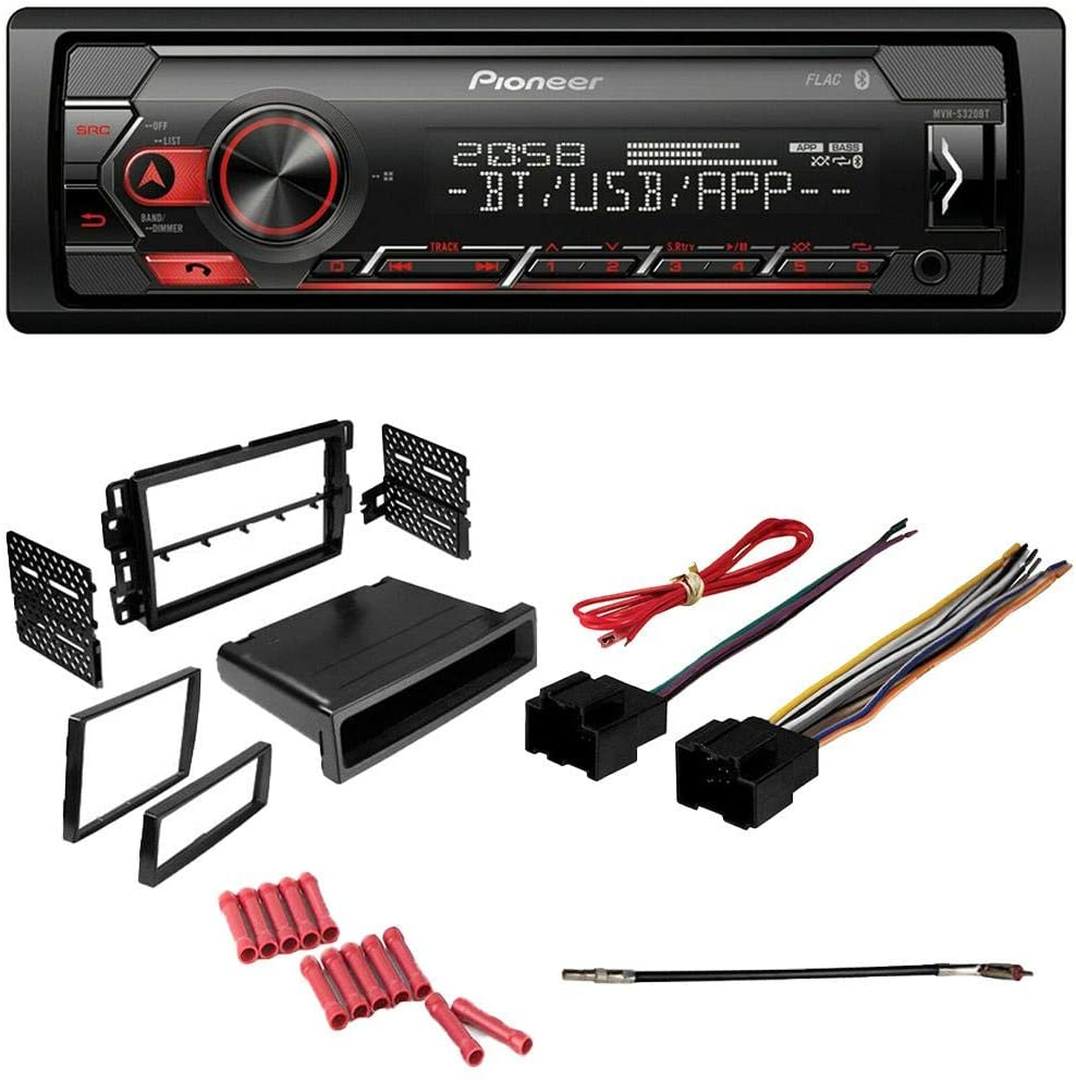 CACHÉ KIT6687 Bundle for 2014 Chevrolet Silverado HD with Pioneer Single Din Car Stereo with Bluetooth Digital Media Receiver in Dash AM/FM Radio and Complete Installation Kit (5item)