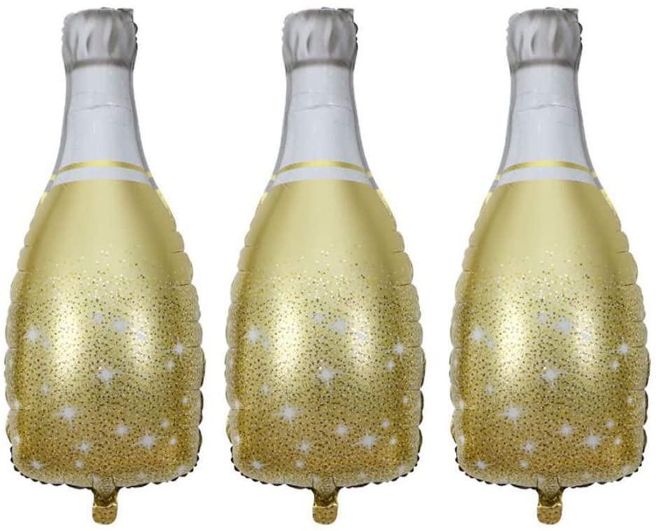 HORUIUS Champagne Bottle Mylar Foil Balloons Birthday Engagement Bachelorette Party Bridal Shower Wedding Celebration Anniversary Decorations 3PCS (Gold)