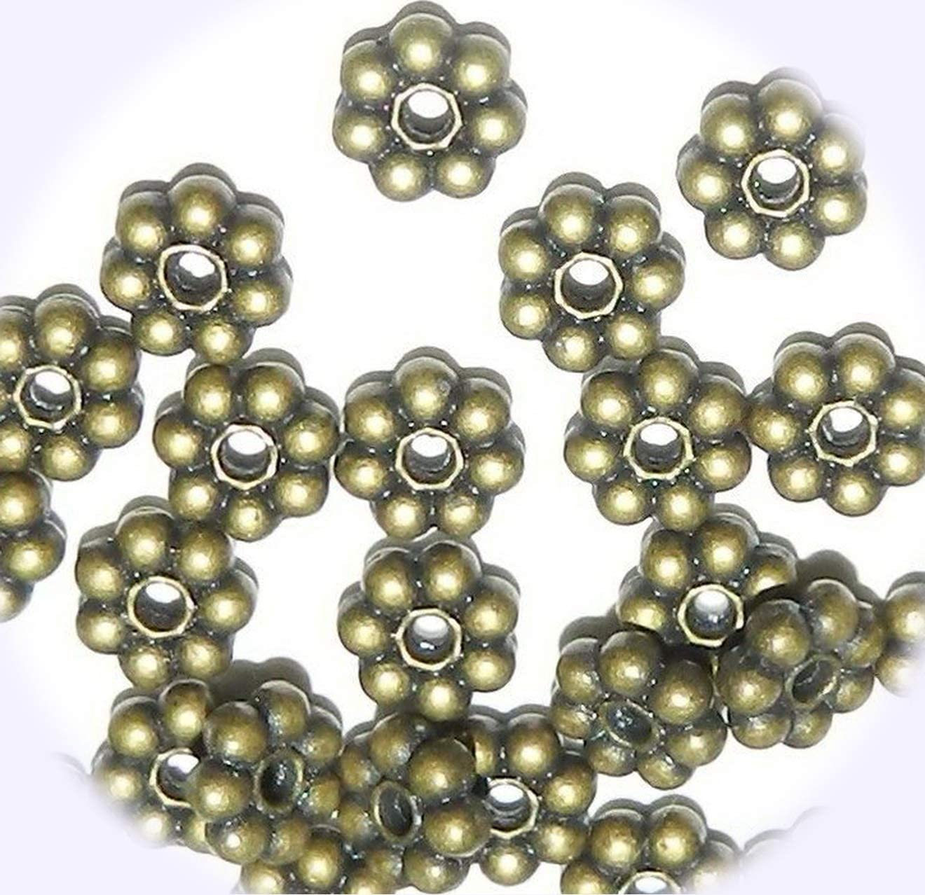 New Antiqued Brass 6mm Dotted Daisy Flower Rondelle Metal Spacer Jewelry-Making Beads 24pc DIY Craft Supplies for Handmade Bracelet Necklace