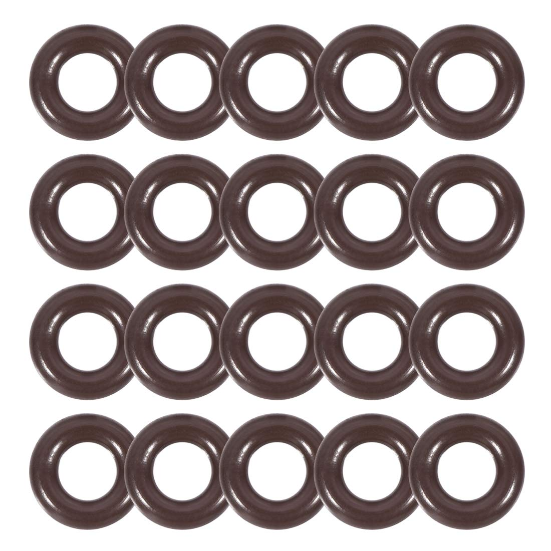 uxcell Fluorine Rubber O-Rings 7.6mm OD 4mm ID 1.8mm Width, Metric FKM Sealing Gasket, Pack of 20