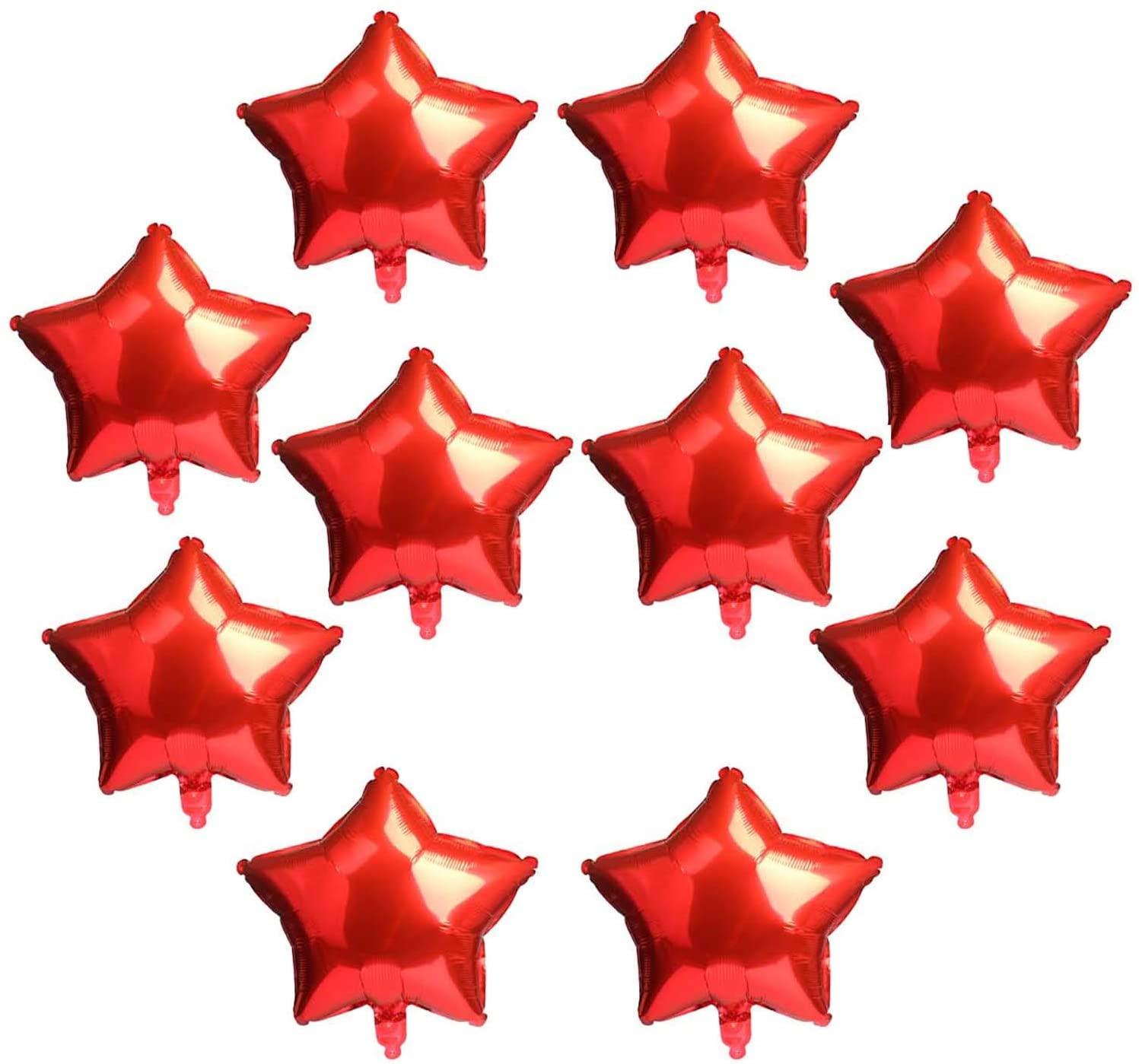 10 Pcs Star-Shaped Balloon 18 Inch Red Foil Balloon Mylar Balloon Happy Birthday Banner Balloons