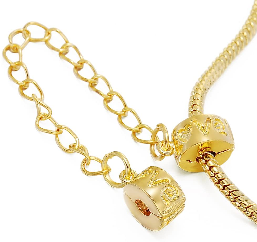 RUBYCA 5pcs Gold Color Clip Lock Double Stopper Chain Clasp Beads fit European Charm Bracelet 130