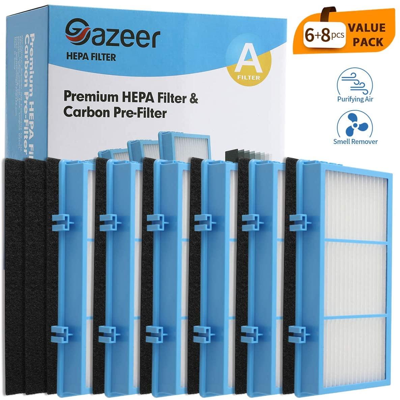 Gazeer True HEPA Filter Replacement for Holmes Aer1 Series Total Air Filter HAPF30AT and HAP242-NUC(6 Pcs HEPA Filters + 8 Pcs Pre Filter)