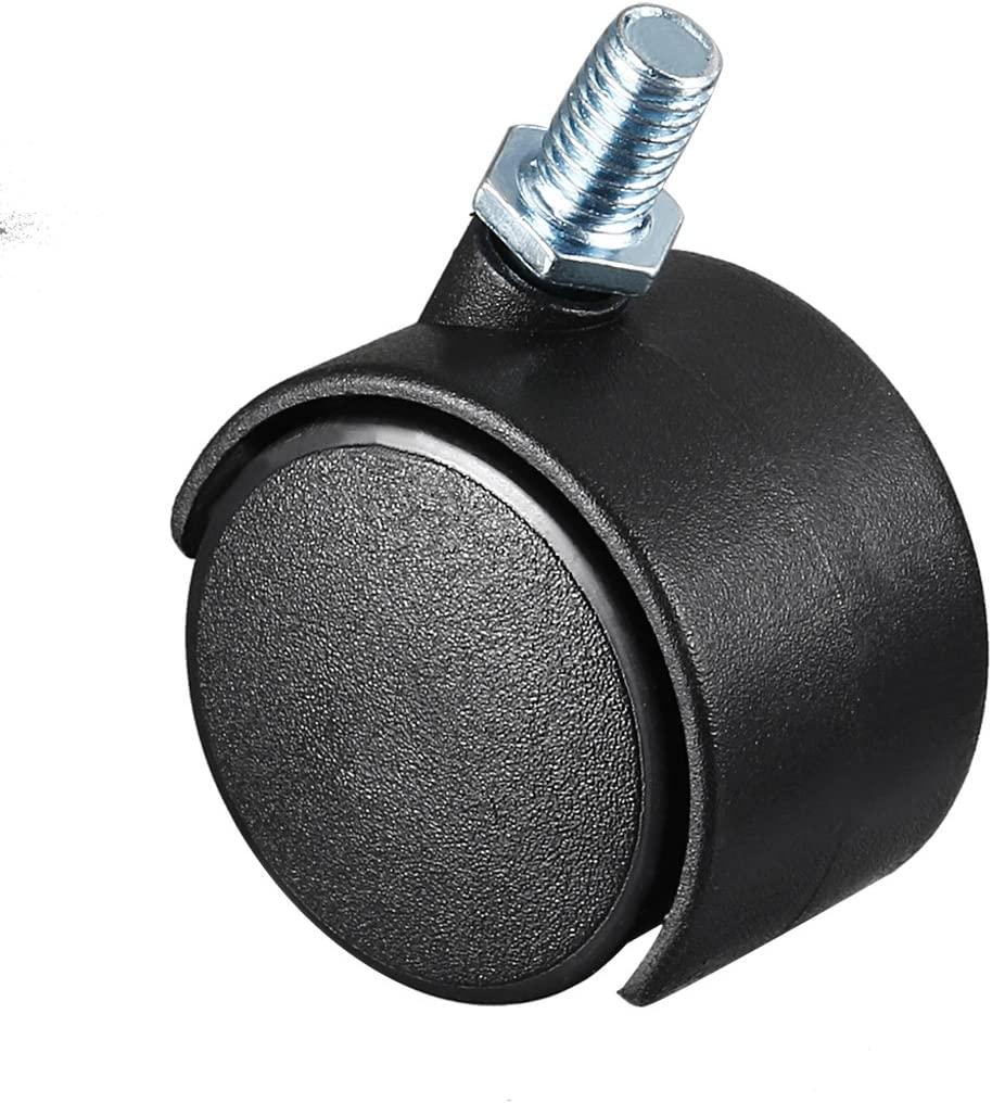 uxcell 1.5 Inch Swivel Caster Wheels Nylon 360 Degree Threaded Stem Caster Wheel, M8 x 13mm, 33lb Capacity