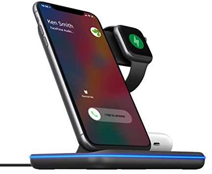 HUIPIN Fast Universal Power Wireless Charger Watch Charger 3 in 1 Wireless Charging for iPhone 11/11 Pro/11Pro Max/Xs/Xs Max/XR/X/8/8Plus Airpod 2/Pro/Samsung / iWatch3/Galaxy Qi-Certified Black