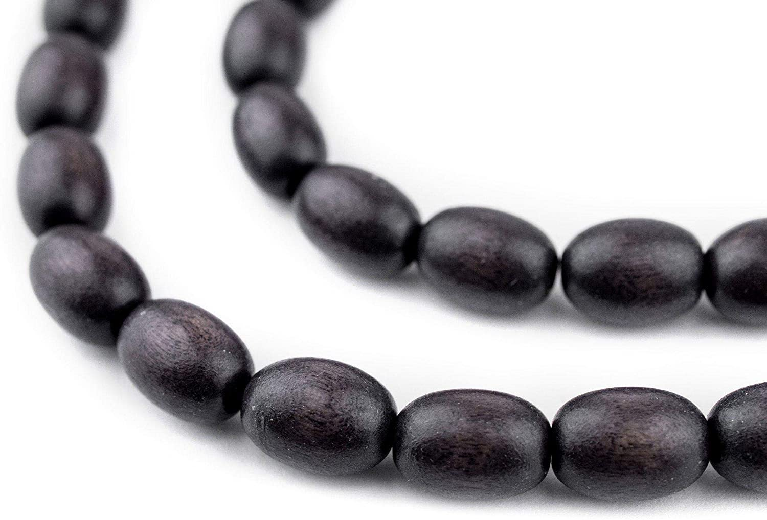 TheBeadChest Dark Grey Oval Natural Wood Beads (15x10mm): Organic Eco-Friendly Wooden Bead Strand for DIY Jewelry, Crafts, Necklace and Bracelet Making