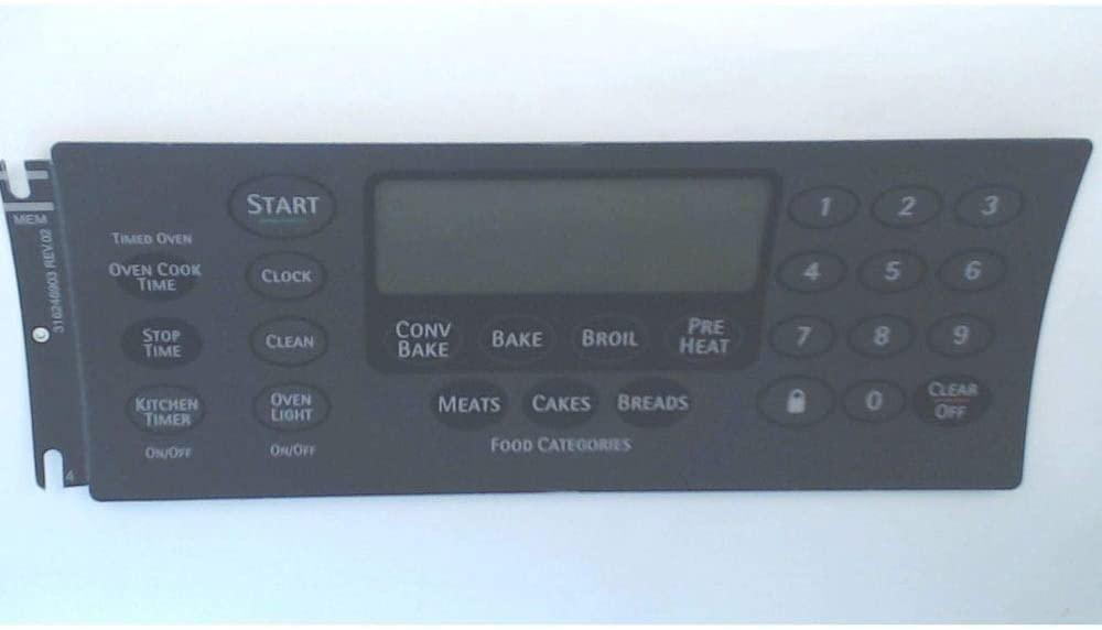 316246903 Range Oven Control Overlay Genuine Original Equipment Manufacturer (OEM) Part Gray
