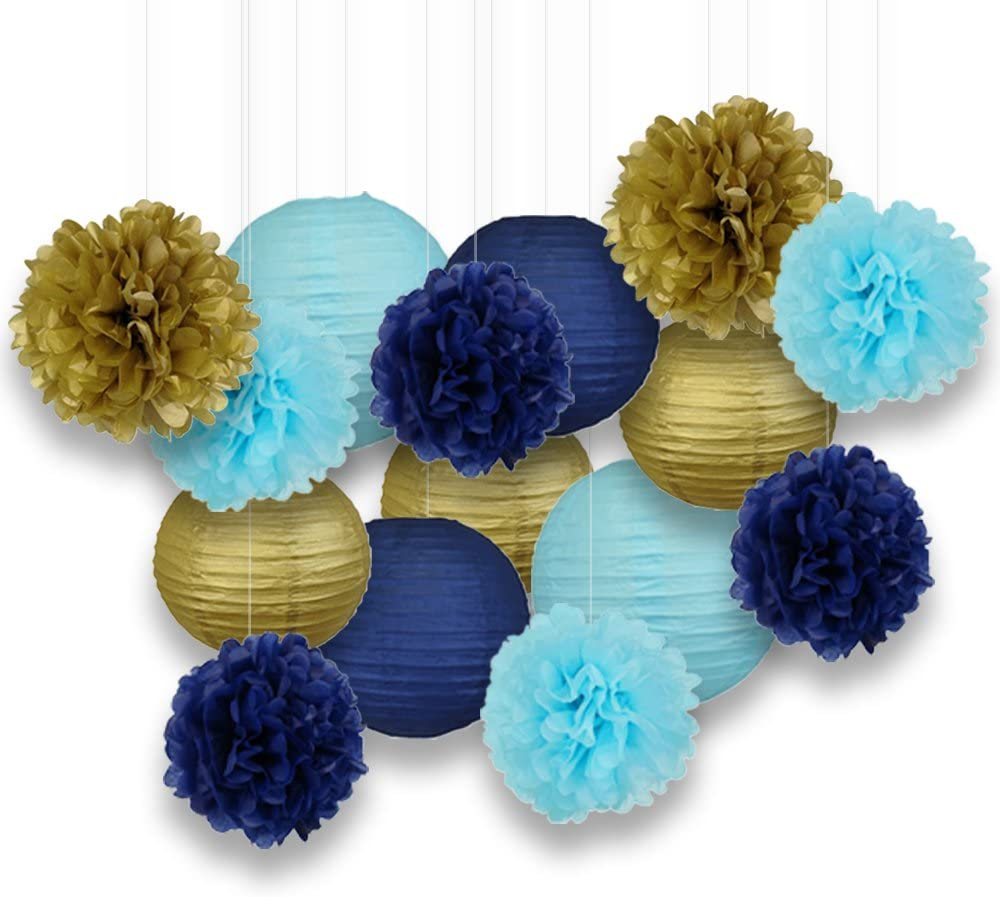 Just Artifacts Decorative Paper Party Pack (15pcs) Paper Lanterns and Pom Pom Balls - Navy/Gold/Blues