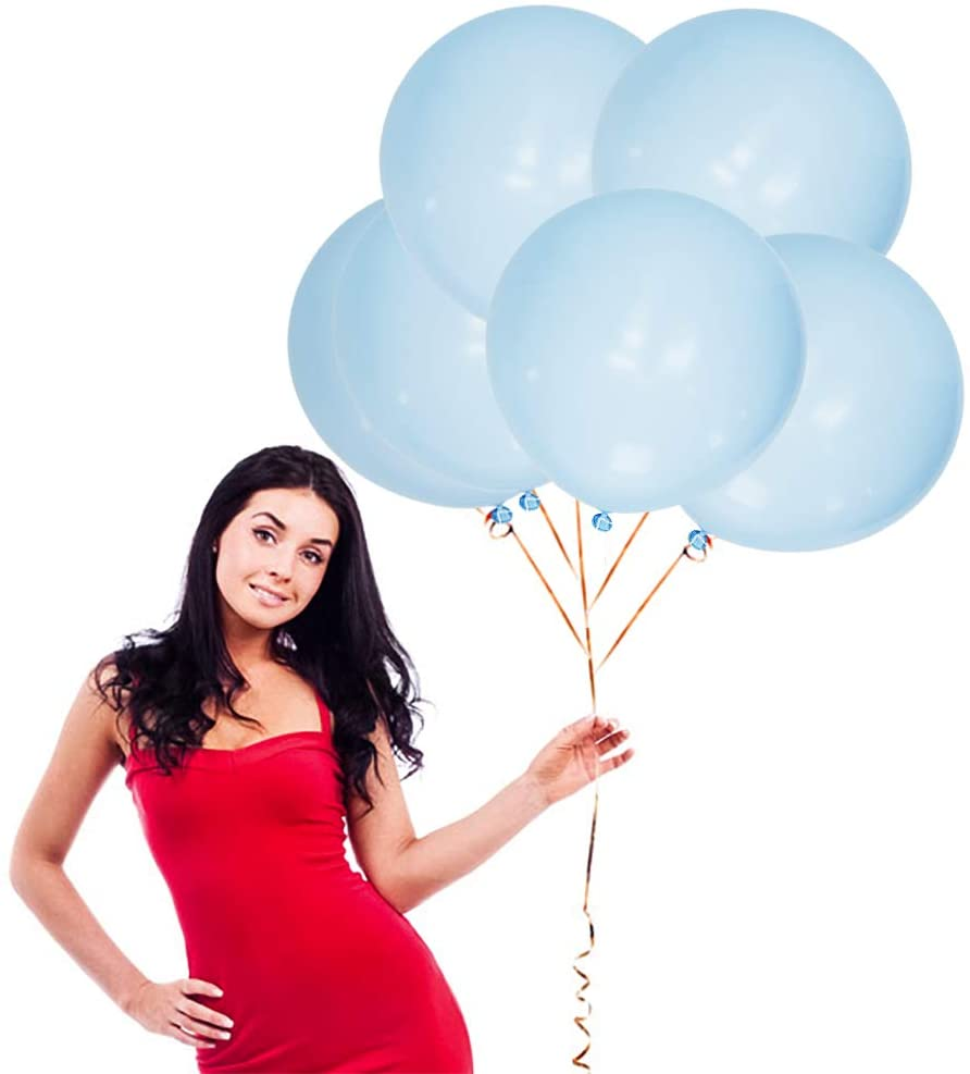 18 Inch Macaron Blue Big Balloons 16 Pack Thick Latex Balloons for Photo Shoot Wedding Baby Shower Birthday Party Decorations by IN-JOOYAA