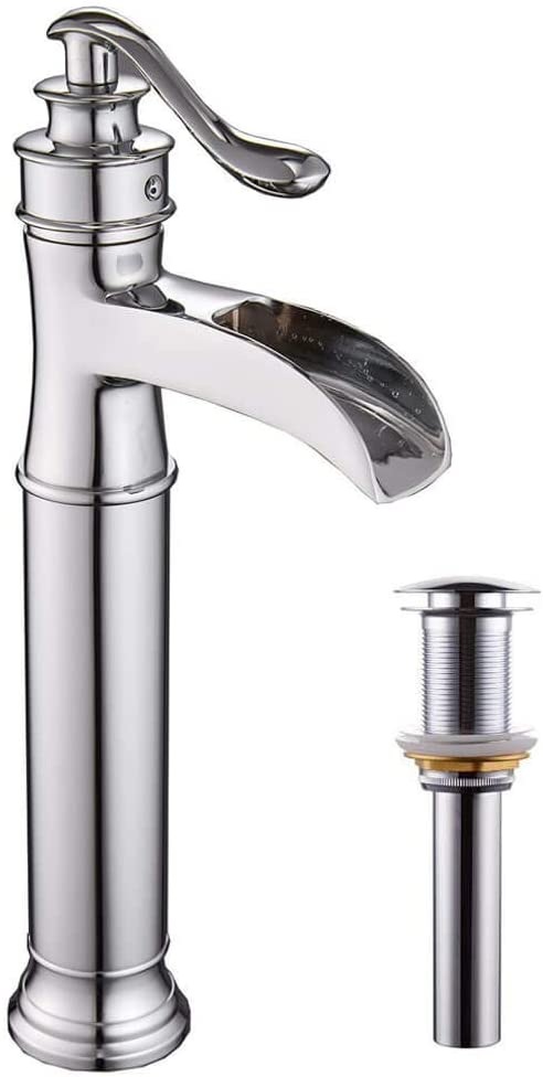 Homevacious Bathroom Vessel Sink Faucet Chrome Tall Body Waterfall Single Hole with Pop Up Drain Bath Basin Lavatory Mixer Tap One Handle Without Overflow Counter Top Supply Line Lead-Free