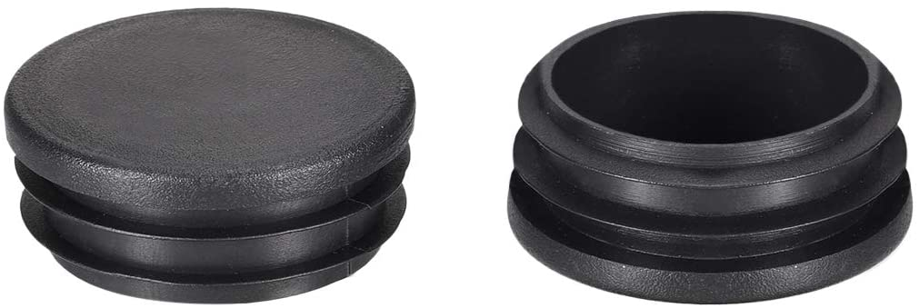 uxcell 1.65 inches Round Black PE Tubing End Cap Steel Furniture Pipe Tube Cover Insert 40 Pcs