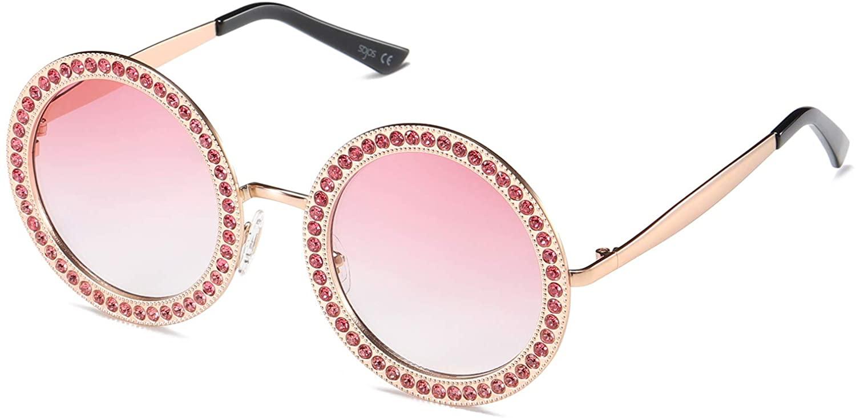 SOJOS Shining Oversized Round Rhinestone Sunglasses Festival Gem Sunnies SJ1095