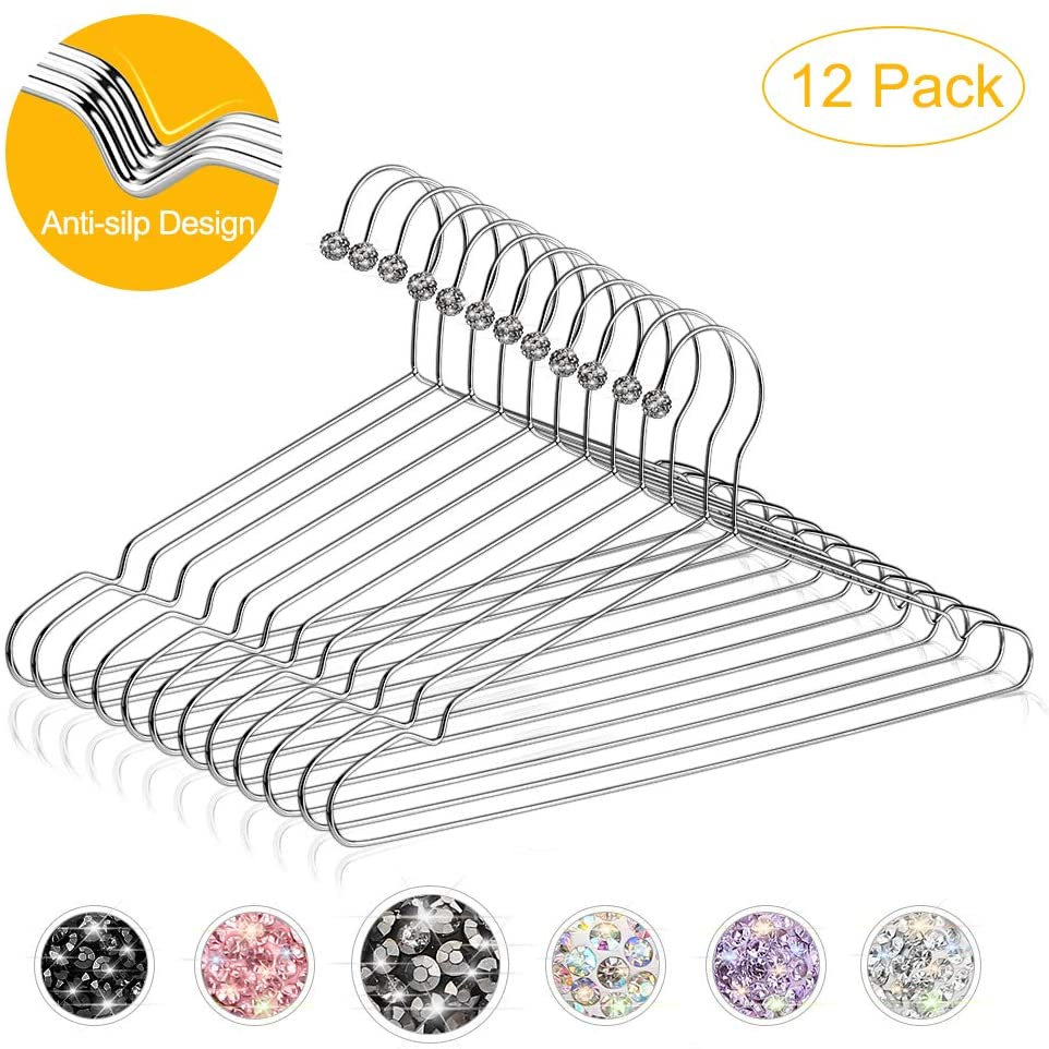 Otostar Stainless Steel Clothes Hangers, 12 Pack Unique Bling Premium Crystal Hangers Strong Heavy Duty Metal Wire Hangers Ultra Thin Space Saving Coat Hangers 15.7 Inch (Grey)