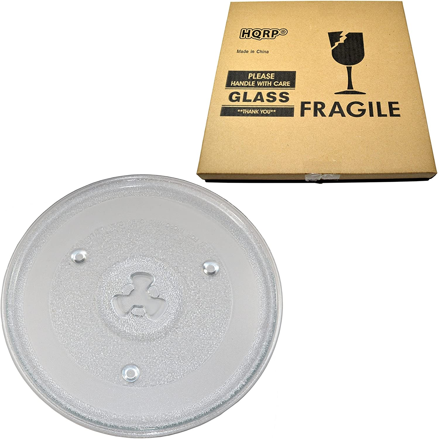 HQRP 10-1/2 inch Glass Turntable Tray compatible with Emerson 252100500497 P23 MW8111SS MW8780SB MW8780SS MW8888 MW8888B MW8977 MW8977B MW8995 MW8997 Microwave Oven Cooking Plate 270mm + HQRP Coaster