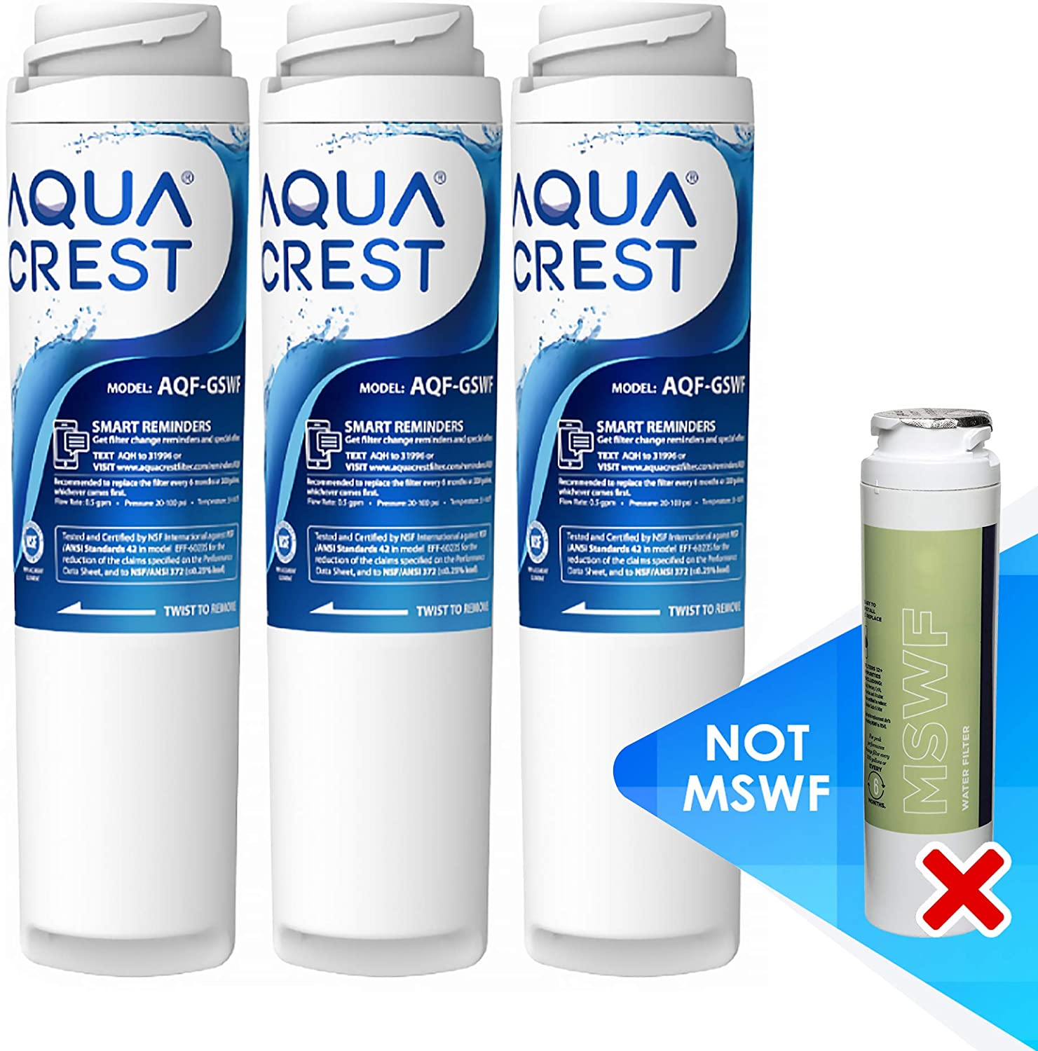 AQUACREST GSWF Refrigerator Water Filter, Compatible with GE GSWF SmartWater 238C2334P001, Kenmore 46-9914, 469914, 9914 (Pack of 3, Packing May Vary)
