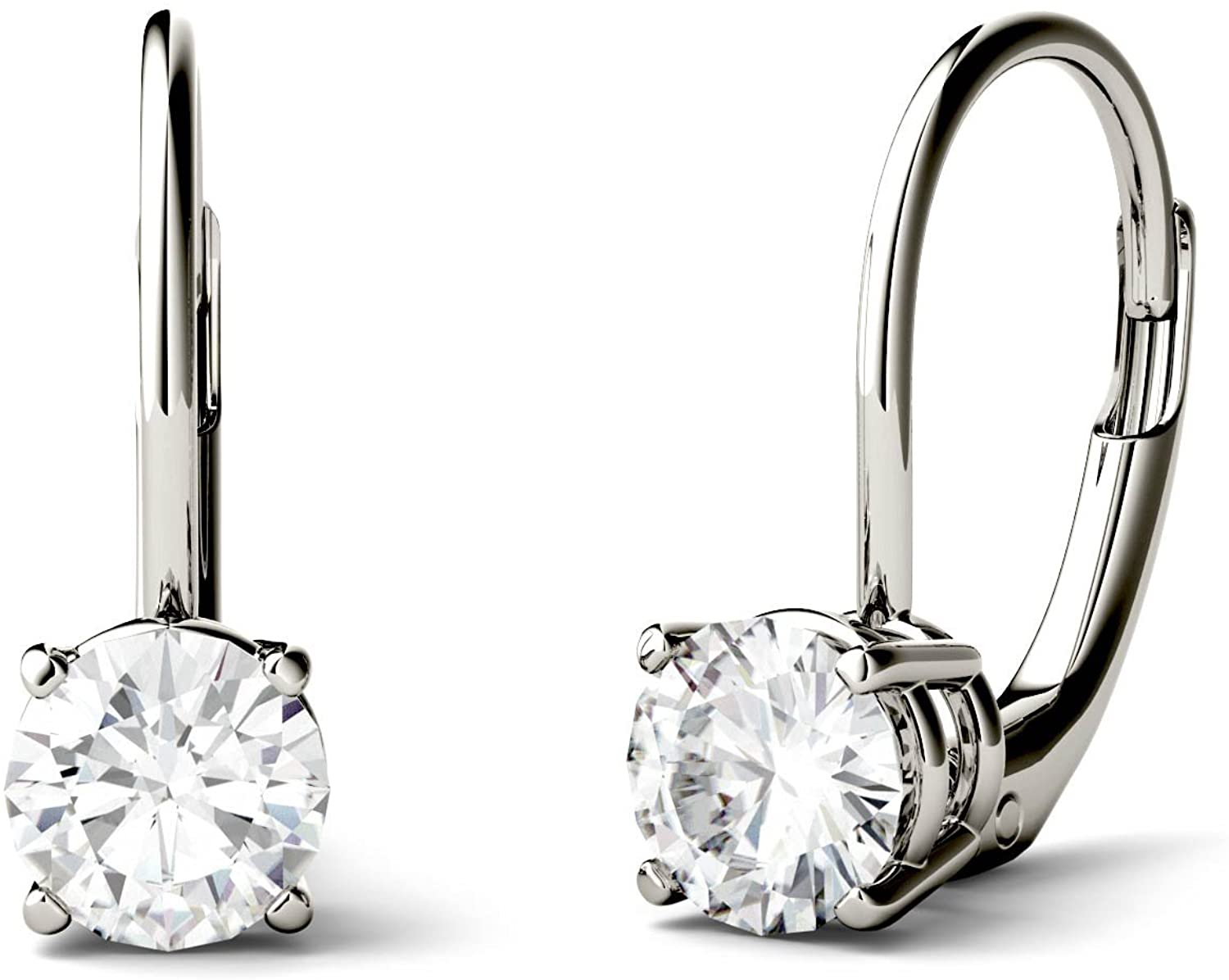 14K White Gold Moissanite by Charles & Colvard Round Leverback Drop Earrings by Charles & Colvard