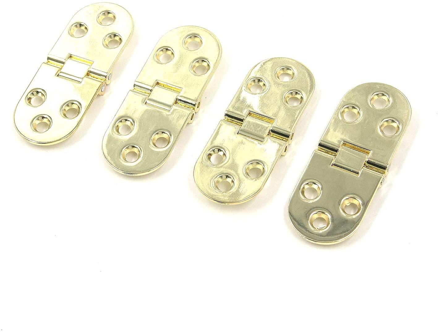 Tulead Golden Hinges Drawer Hinges 90° Hinge Folding Table Hinges 180° Coffee Table Hinges Metal Tray Hinge 4PCS with Screws