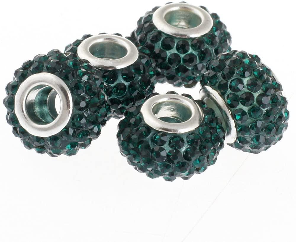 RUBYCA Big Hole Czech Crystal Slide Charm Beads fit European Charm Bracelet (10pcs, Green, 15mm)